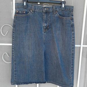 GAP Jeans Blue Denim Skirt w Front Slit Size 10